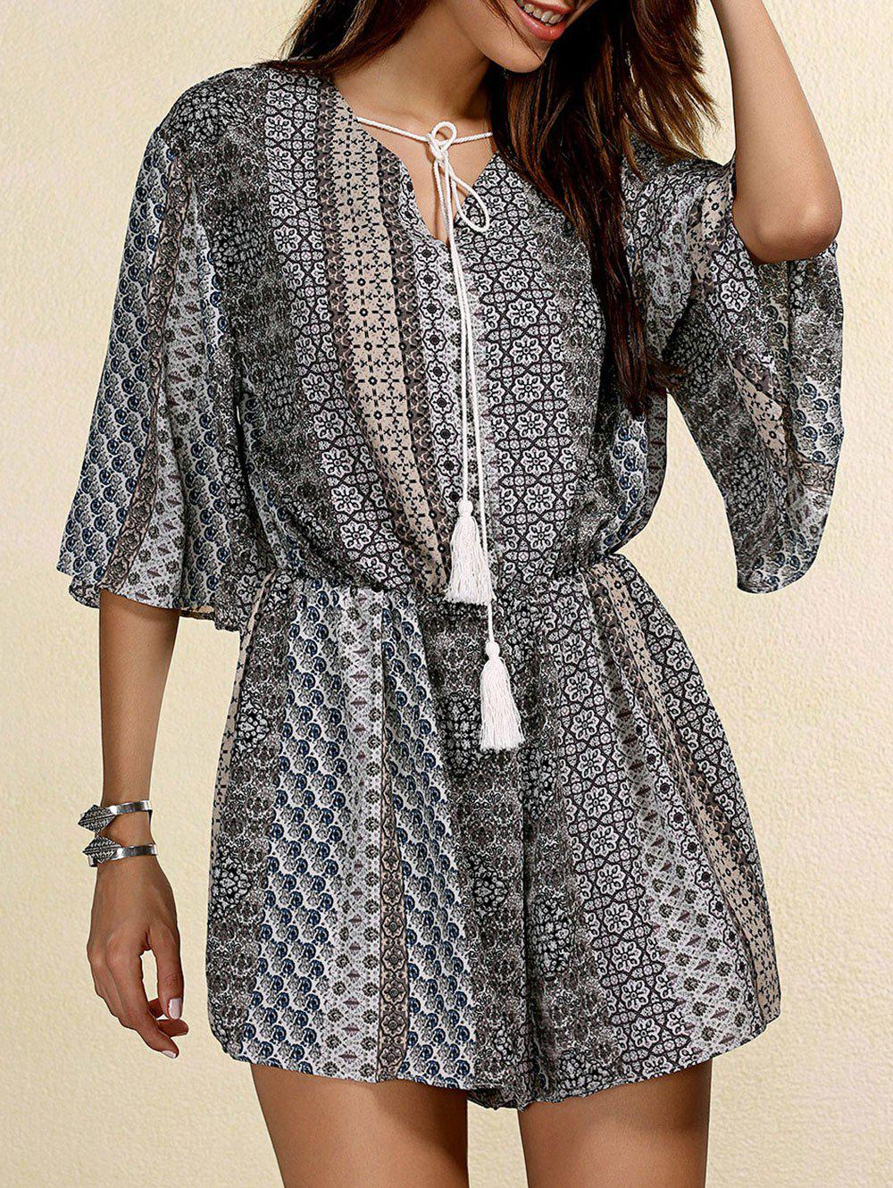 Ethnic Women's Jewel Neck Bell Sleeves Printed Romper - GRAY ONE SIZE(FIT SIZE XS TO M)