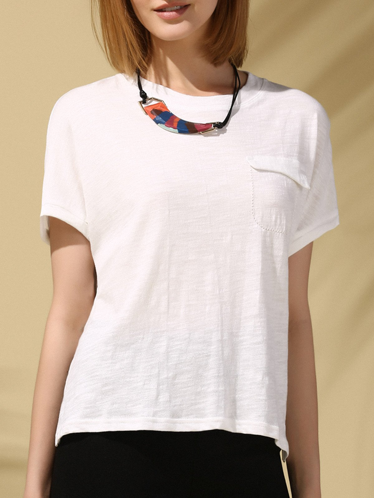 Casual Women's Jewel Neck Pocket Design Short Sleeves Slit Tee - WHITE ONE SIZE(FIT SIZE XS TO M)