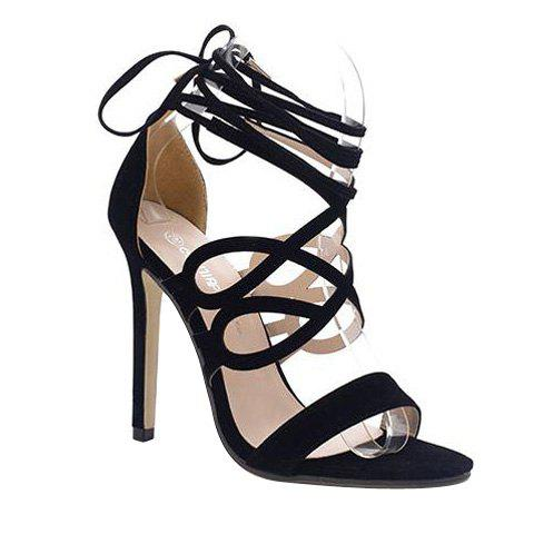 Fashionable Stiletto Heel and Black Colour Design Women's Sandals - BLACK 36