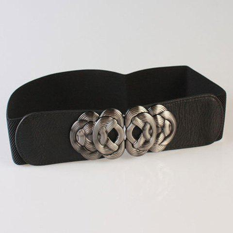 Chic Intricate Knotted Embellished Women's Hipsters Elastic Waistband - BLACK