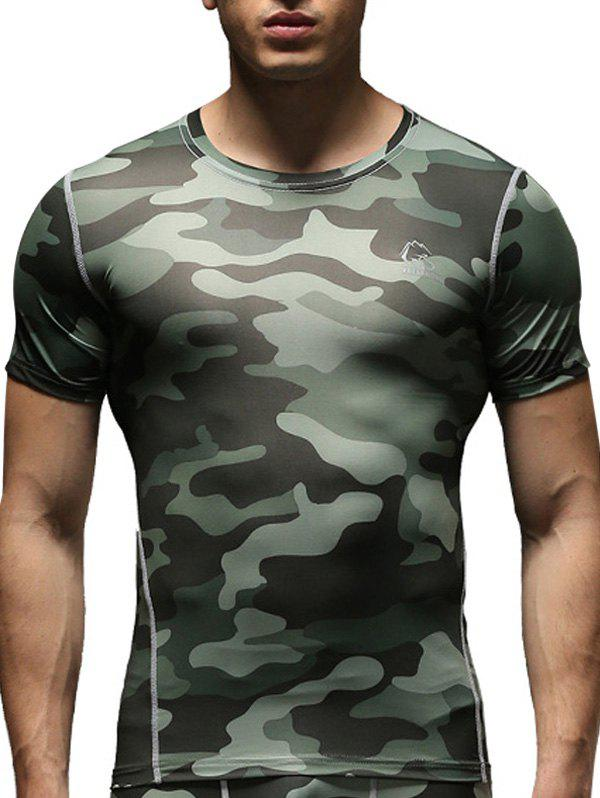 Round Neck Short Sleeve Quick-Dry Fitted Camo Print Men's Training T-Shirt - GREEN M