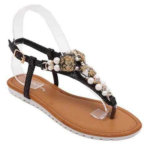 Trendy Rhinestones and Faux Pearls Design Women's Sandals - BLACK 38