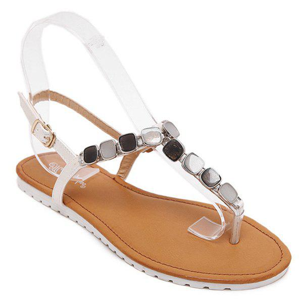 Casual Flat Heel and Flip Flop Design Women's Sandals - WHITE 40