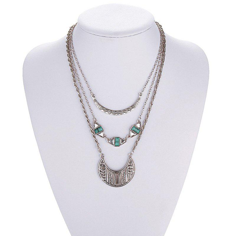 Faux Crystal Geometric Moon Necklace - SILVER