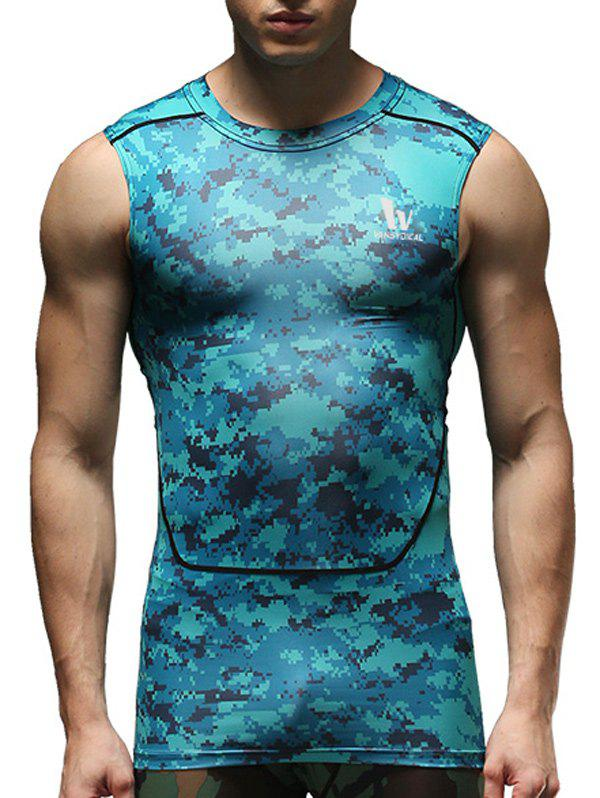 Camouflage Pattern Round Neck Quick-Dry Fitted Men's Tank Top - BLUE M