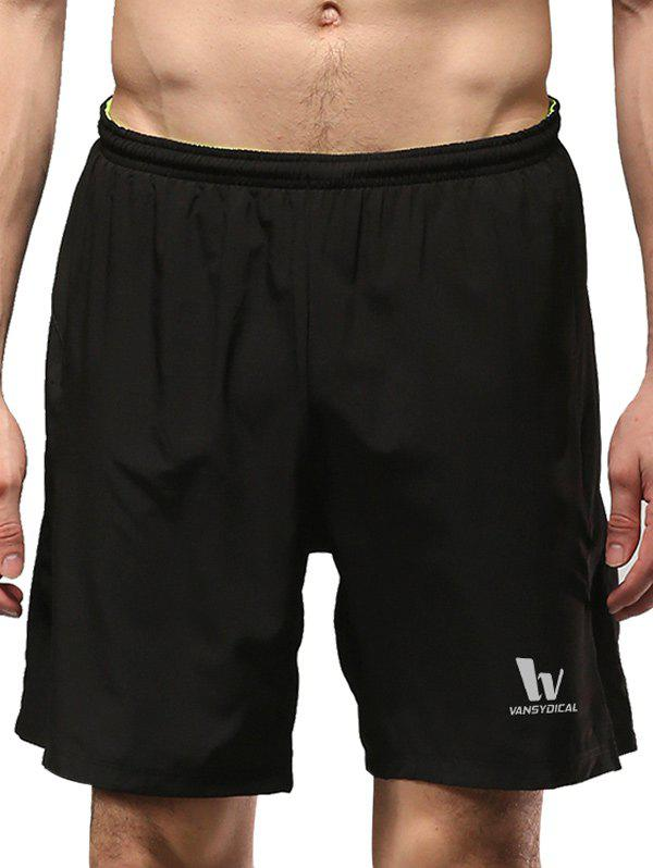 Elastic Waist Two-Layered Solid Color Straight Leg Men's Shorts - BLACK L
