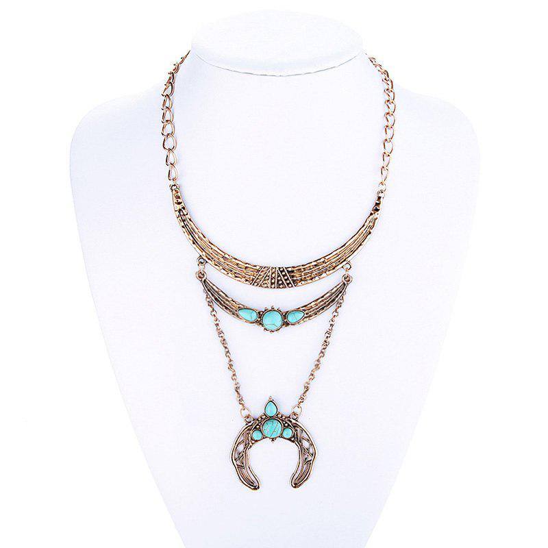 Charming Faux Turquoise Moon Sweater Chain For Women -  GOLDEN