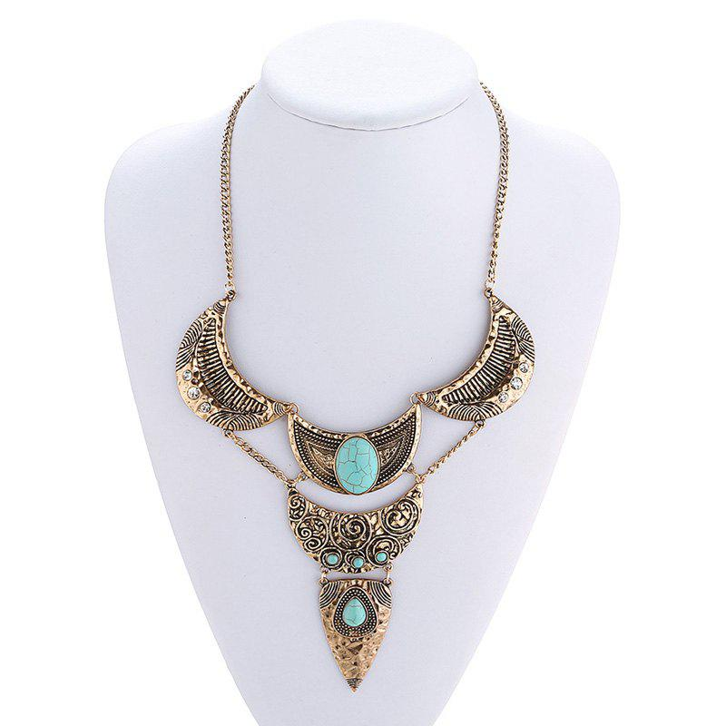Charming Faux Turquoise Moon Oval Sweater Chain For Women - GOLDEN