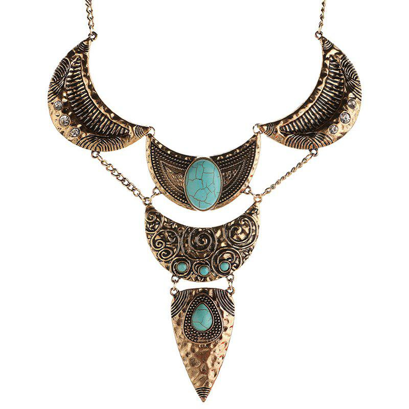 Charme Faux Turquoise Lune Oval Pull chaîne pour les femmes - Or