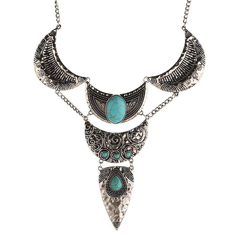 Charming Faux Turquoise Moon Oval Sweater Chain For Women - SILVER