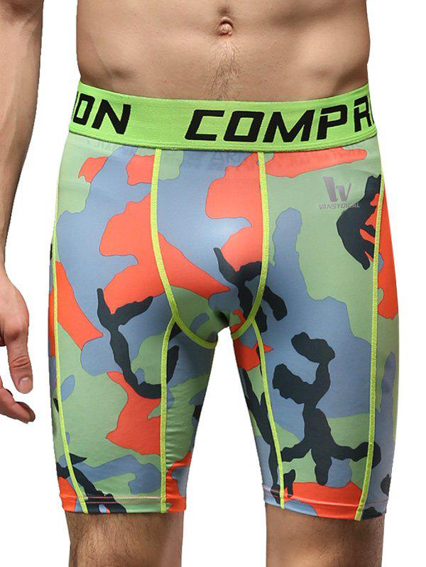 Letter Print Quick-Dry Elastic Waist Camouflage Fitted Men's Training Shorts - ORANGE M