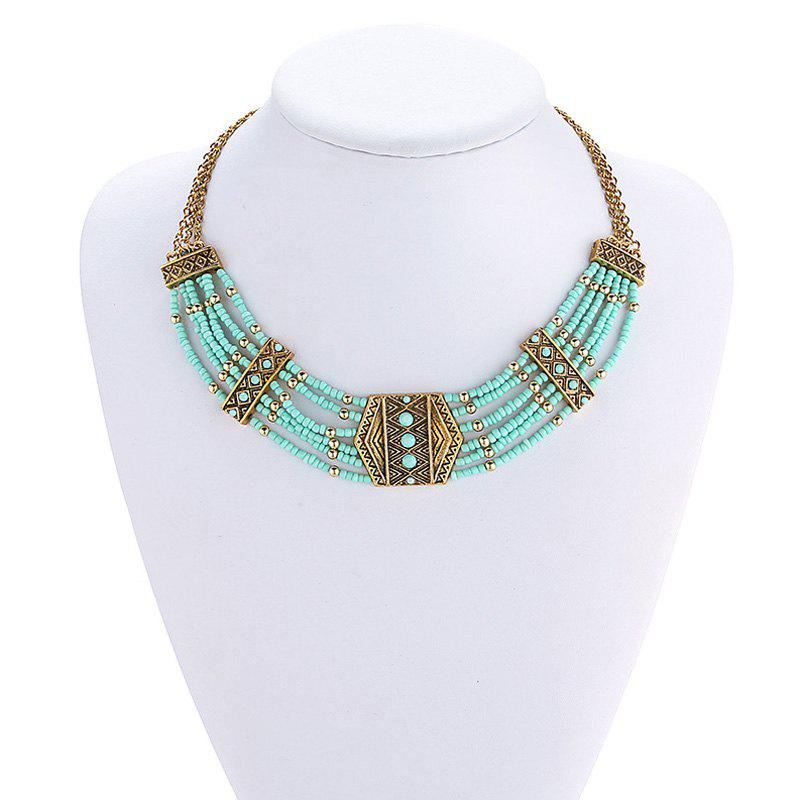 Multilayered Beads Geometric Necklace - GOLDEN
