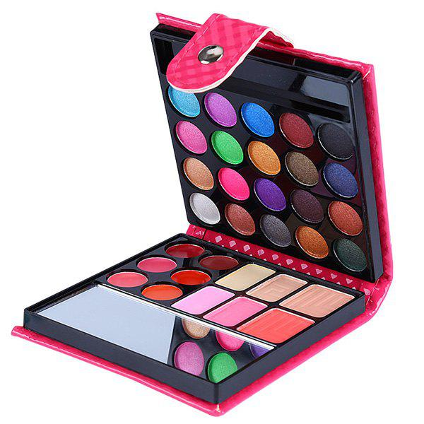 Natural 32 Colours Eye Shadow Lip Gloss Blusher Makeup Collection Wallet Packaging with Mirror and Brush - ROSE