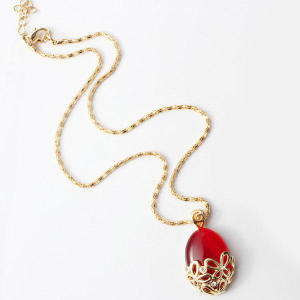 Faux Gem Hollow Out Butterfly Shape Pendant Necklace - RED
