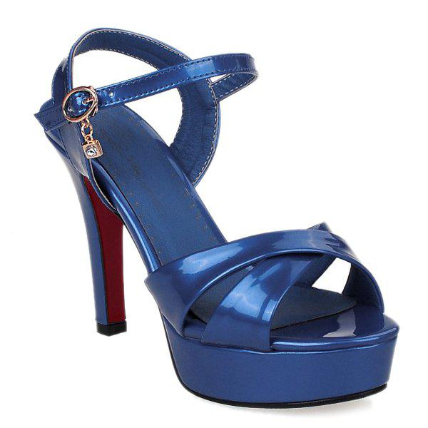 Fashionable Patent Leather and Cross Straps Design Women's Sandals - BLUE 38