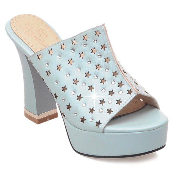 Trendy Rhinestones and Hollow Out Design Women's Slippers - LIGHT BLUE 39