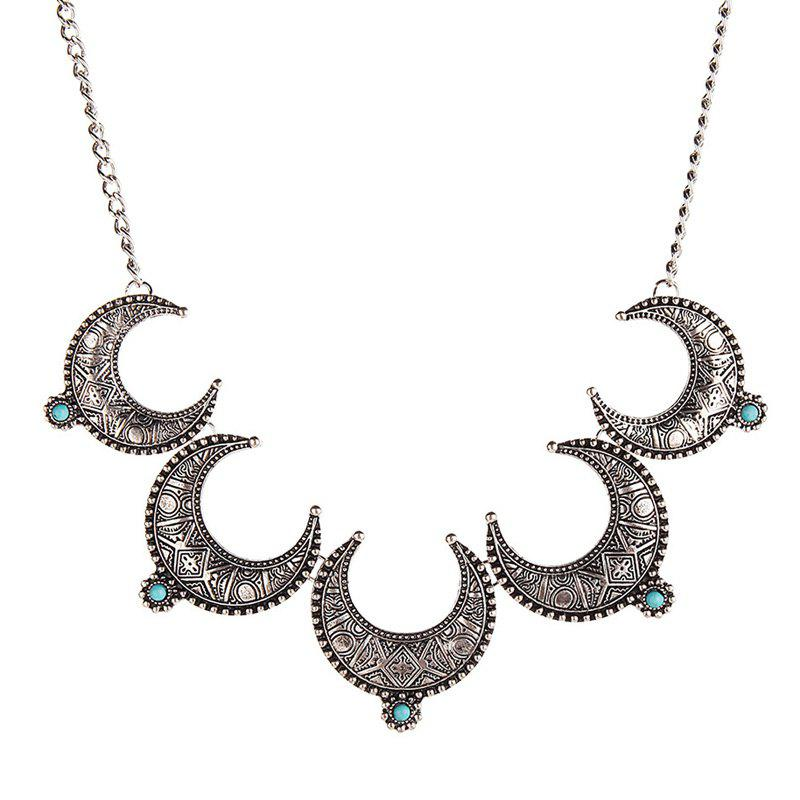 Faux Turquoise Moon Necklace - SILVER