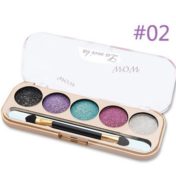 Natural 5 Colours Diamond Nude Makeup Eye Shadow Palette with Mirror and Brush
