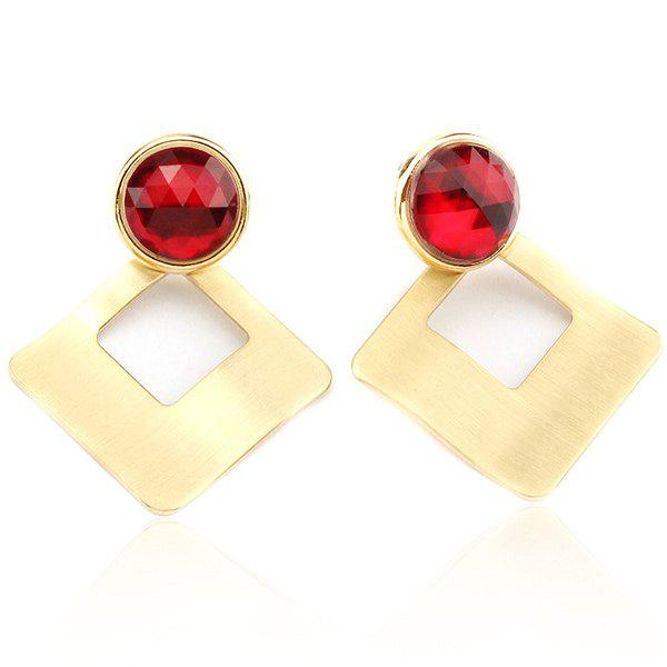 Artificial Ruby Square Shape Hollow Out Stud Earrings - GOLDEN