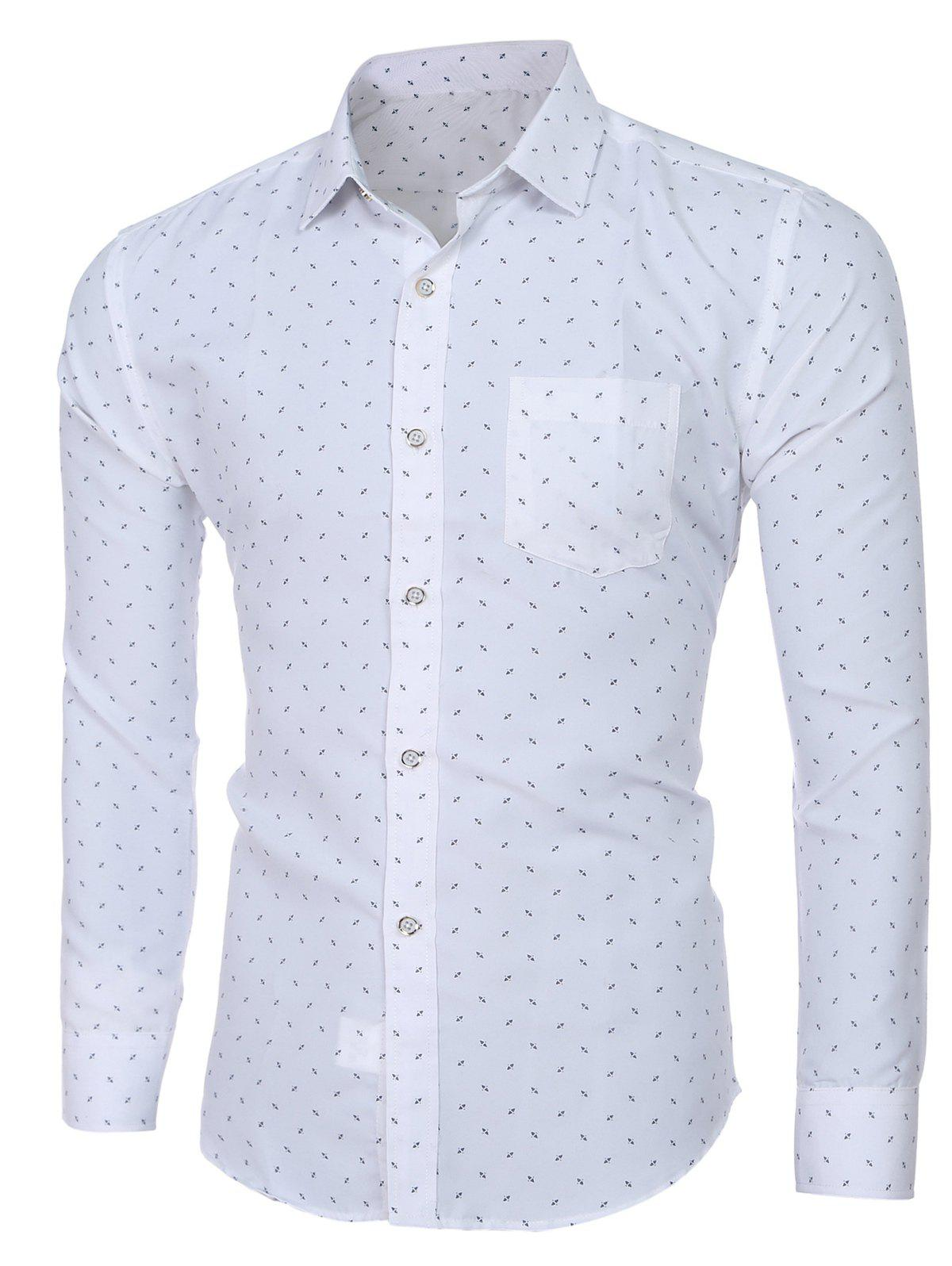 Men's Trendy Turn-down Collar Printing Long Sleeves Shirt - WHITE L