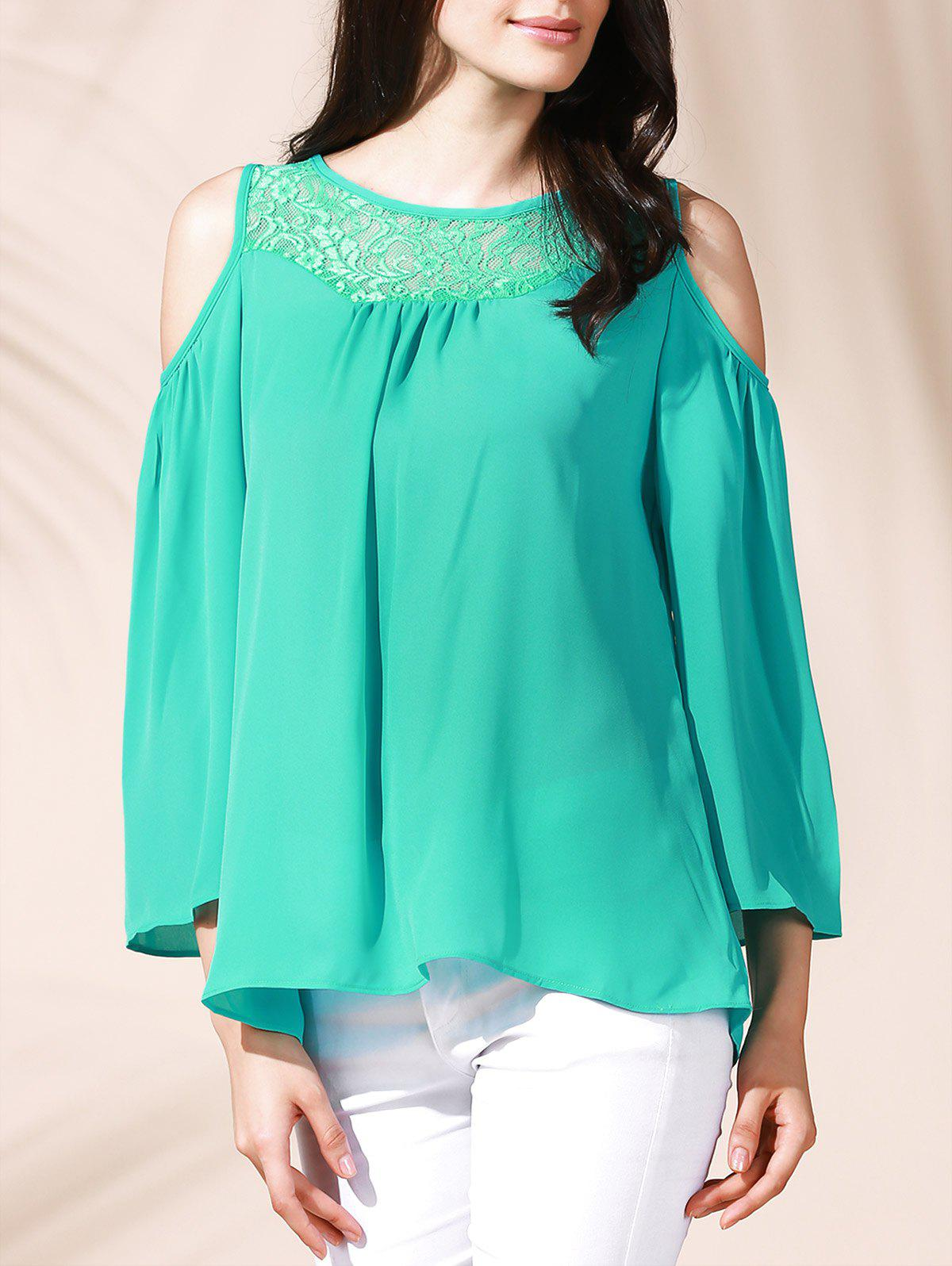 Trendy Jewel Neck Lace Cutout 3/4 Sleeve Loose-Fitting Women's Blouse