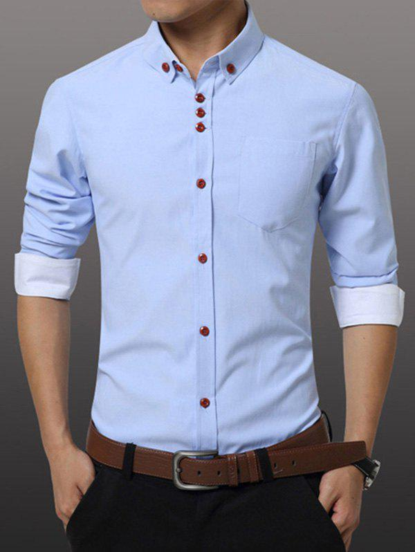 Men's Casual Plus Size Solid Color Button-down Shirt, AZURE, M in ...