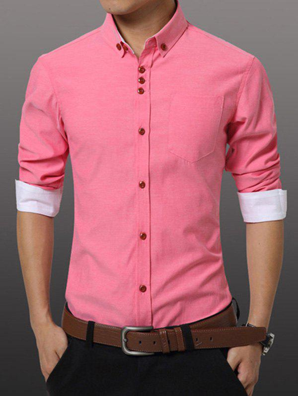 Men's Casual Plus Size Solid Color Button-down Shirt - WATERMELON RED M