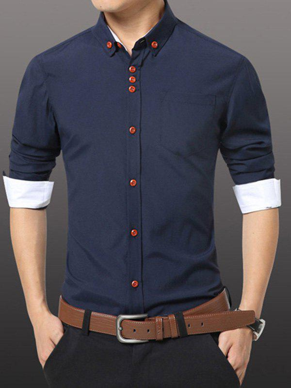 Men's Casual Plus Size Solid Color Button-down Shirt - DEEP BLUE M