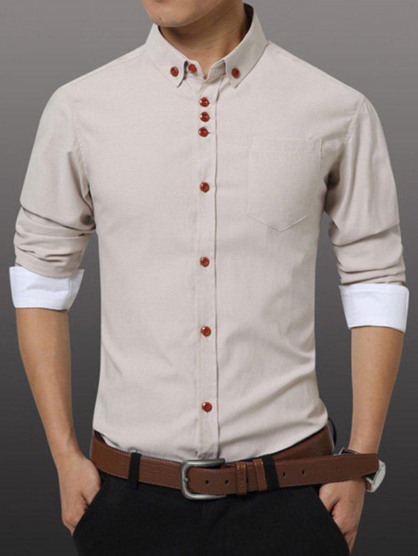 Men's Casual Plus Size Solid Color Button-down Shirt - BEIGE 4XL