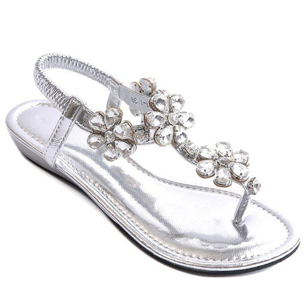Casual Elastic Band and Rhinestones Design Women's Sandals - SILVER 38