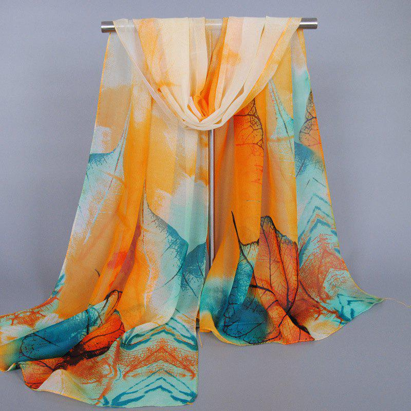 Chic Vivid Big Leaves Pattern Women's Chiffon Scarf - ORANGE