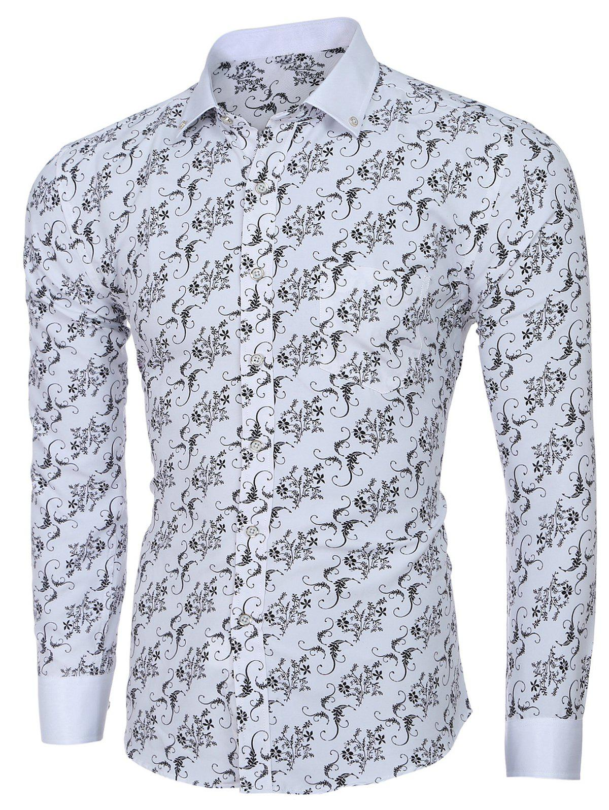 Men 's  Collar Turn-down fleur d'impression à manches longues T-shirt - Blanc 2XL