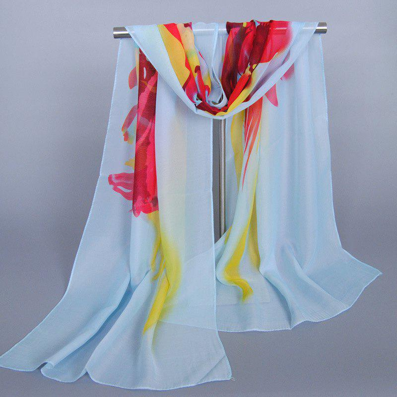 Chic Freedom Creation Splash-Ink Pattern Women's Chiffon Scarf - LIGHT BLUE