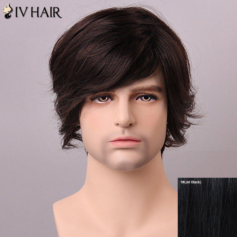 Fashion Side Bang Siv Hair Human Hair Men's Wig - JET BLACK