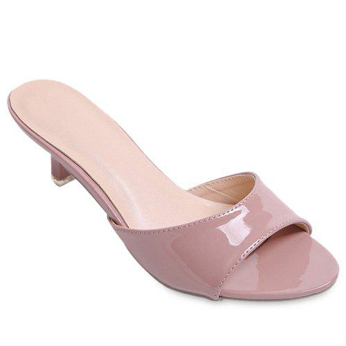 Fashionable Solid Colour and Patent Leather Design Women's Slippers - PALE PINKISH GREY 39