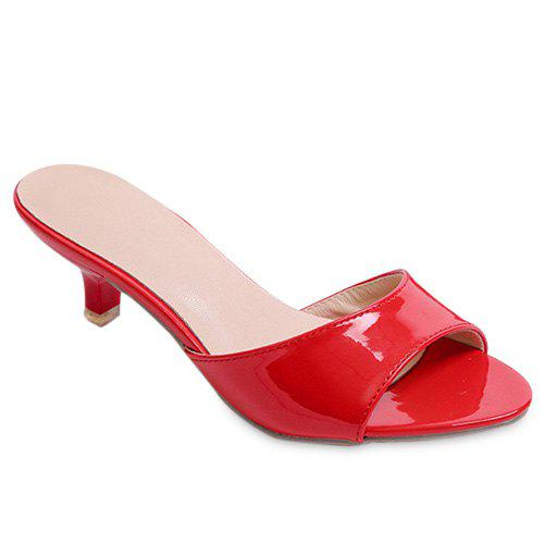 Fashionable Solid Colour and Patent Leather Design Women's Slippers от Dresslily.com INT