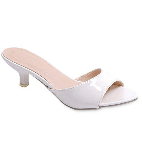Fashionable Solid Colour and Patent Leather Design Women's Slippers - WHITE 36