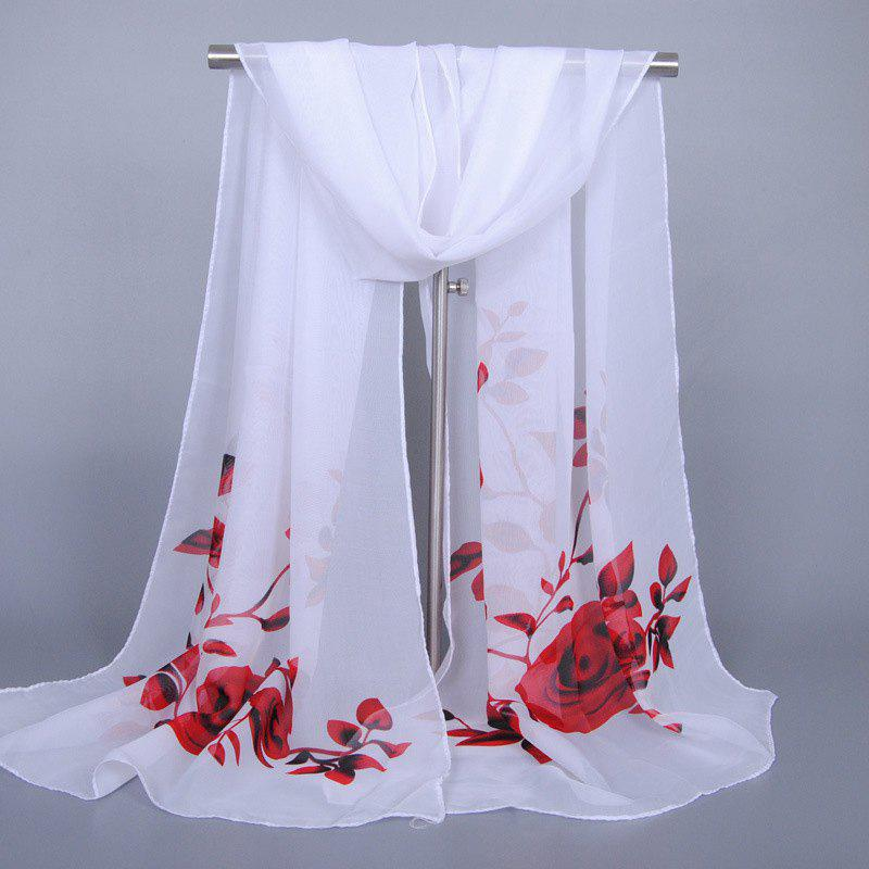Chic Red Roses and Leaves Pattern Women's Chiffon Scarf - WHITE