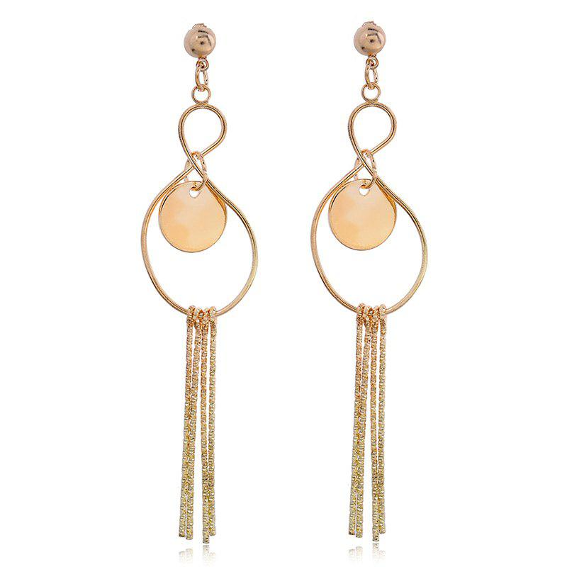 Pair of Circle Rhinestone Earrings - GOLDEN