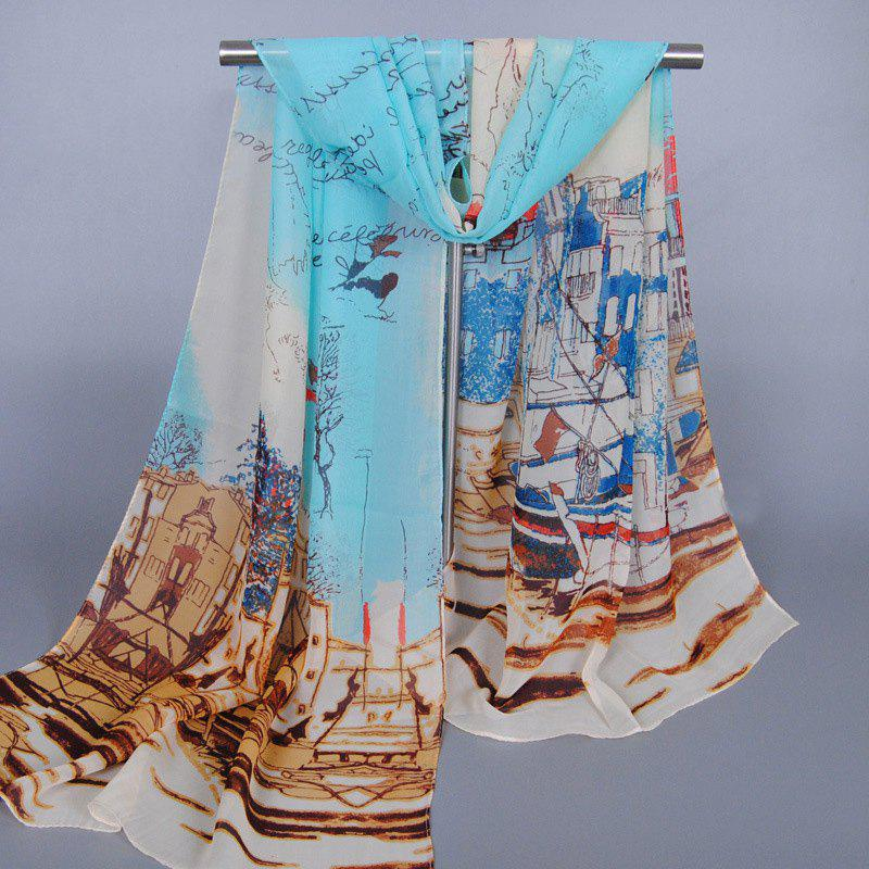 Chic Modern Metropolitan Style Buildings Pattern Women's Chiffon Scarf - WATER BLUE
