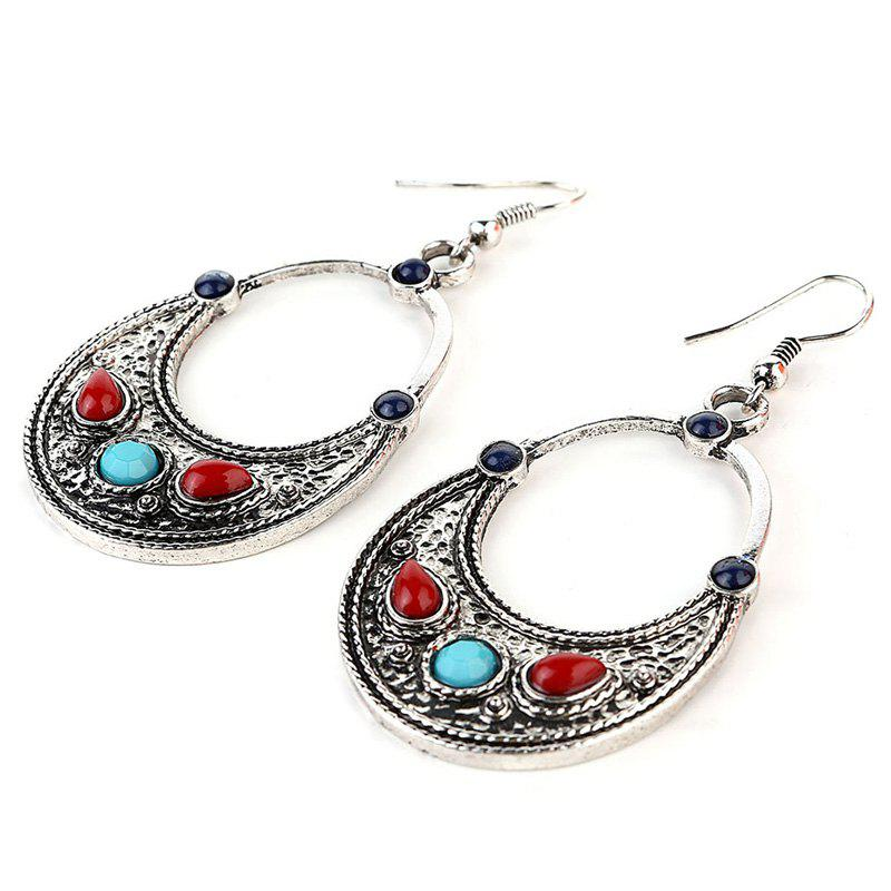 Fake Gem Moon Shape Drop Earrings - SILVER GRAY