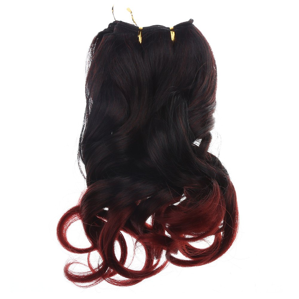 Attractive Ombre Color Fluffy Wavy Capless Synthetic Hair Extension For Women - COLORMIX