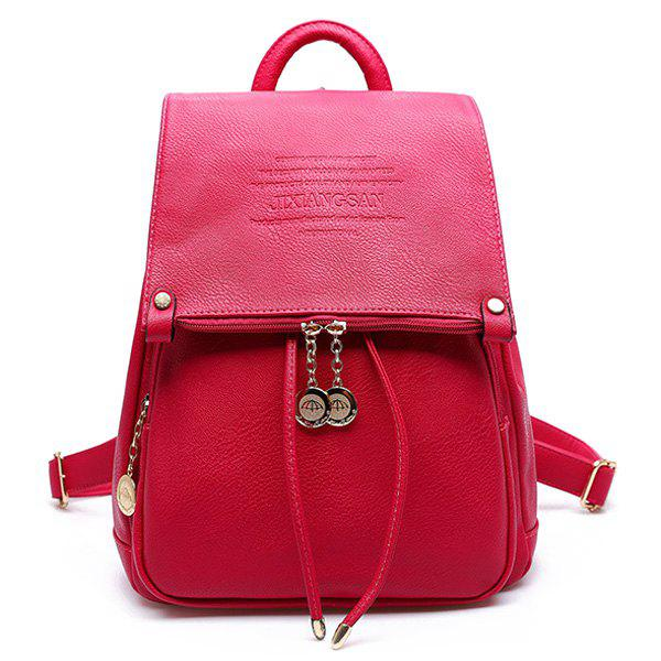 Preppy Letters and Solid Color Design Women's Satchel - ROSE