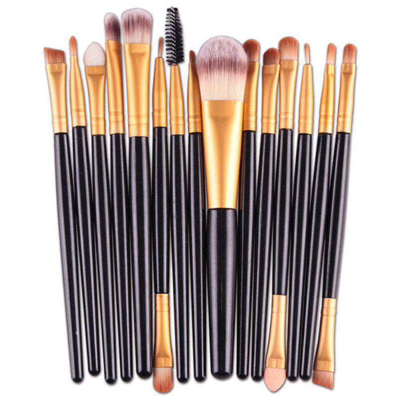 Practical 15 Pcs Plastic Handle Nylon Makeup Brushes Set - BLACK