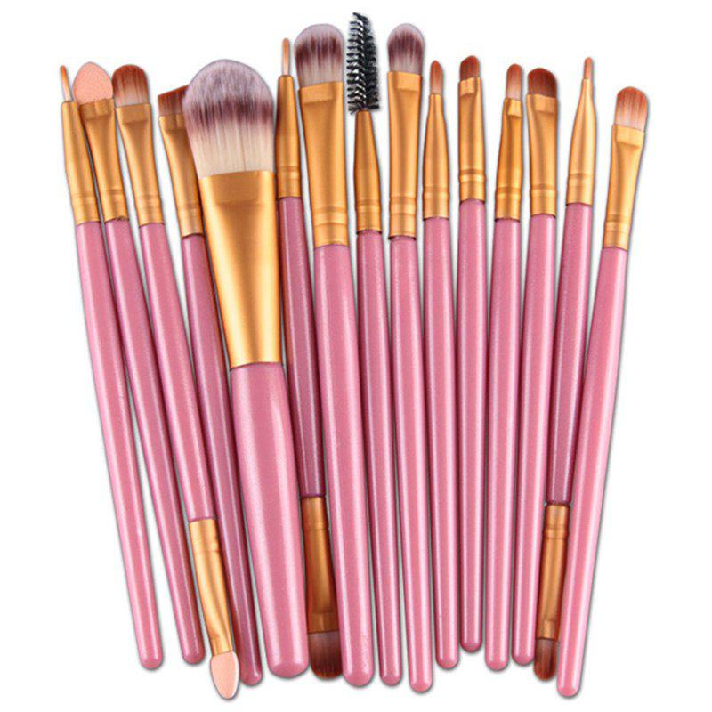Practical 15 Pcs Plastic Handle Nylon Makeup Brushes Set - PINK