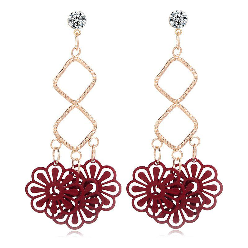 Pair of Charming Rhinestone Embellished Flower Earrings For Women
