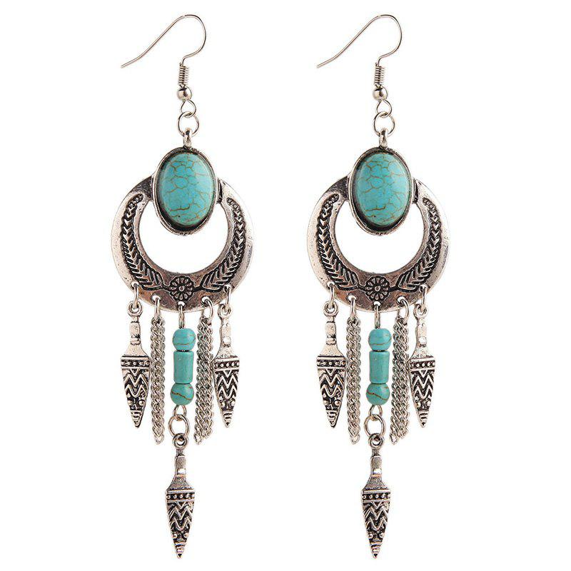 Faux Turquoise Cut Out Geometric Drop Earrings - SILVER