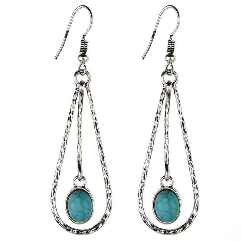 Vintage Water Drop Hollow Out Oval Faux Turquoise Earrings - SILVER