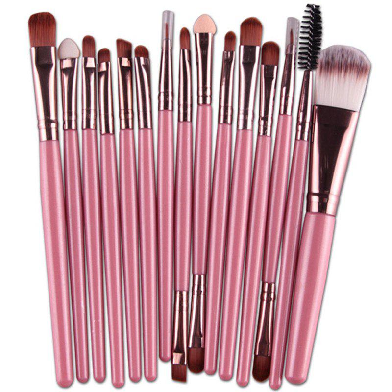 Practical 15 Pcs Multifunction Plastic Handle Nylon Makeup Brushes Set - PINK