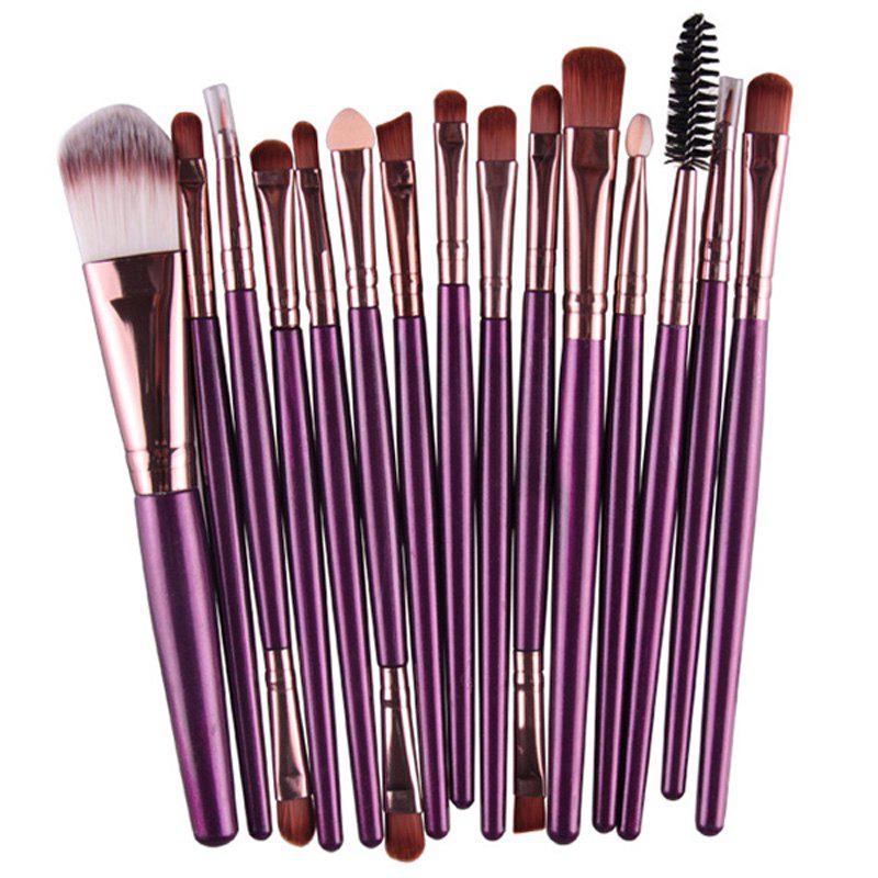 Practical 15 Pcs Multifunction Plastic Handle Nylon Makeup Brushes Set - PURPLE